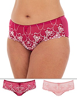 Pretty Secrets Chrissie 2 Pack Pink Multi Embroidered Midi Briefs