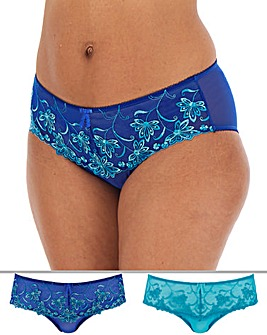 Pretty Secrets Chrissie 2 Pack Blue Multi Embroidered Midi Briefs