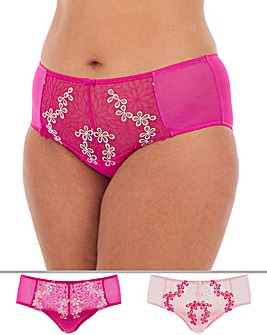 2 Pack April Floral Emb Full Cup Briefs