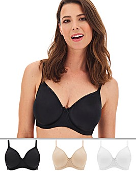 Pretty Secrets 3 Pack Claire White/Black/Beige Moulded Full Cup Wired Bras