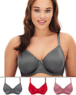 Pretty Secrets 3 Pack Claire Chilli/Pink/Smoke Moulded Full Cup Wired Bras