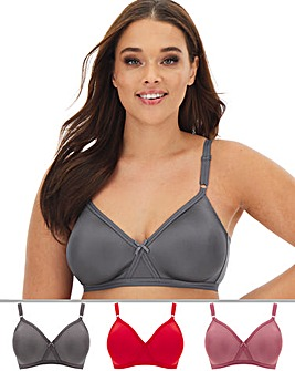 Pretty Secrets 3 Pack Claire Chili/Pink/Smoke Moulded Full Cup Non Wired Bras