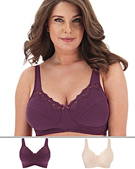 2 Pack Sarah Full Cup Non Wired Bras