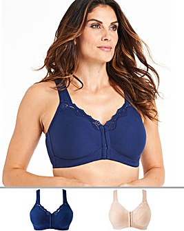 Pretty Secrets Sarah 2 Pack Navy/Blush Front Fastening Bras