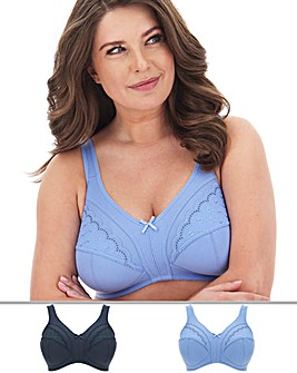 Pretty Secrets Sally 2 Pack Blue Multi Minimiser Non Wired Bras