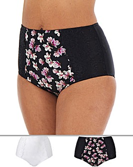 Pretty Secrets Laura 2 Pack Laura Full Fit Floral/White Briefs