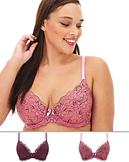 Pretty Secrets 2 Pack Ella Lace Padded Plunge Dusk/Mulberry Bras