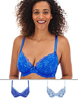 Pretty Secrets 2 Pack Ella Lace Padded Plunge Blue Multi Bras