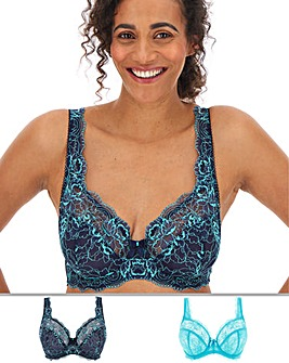 Pretty Secrets 2 Pack Ella Lace Full Cup Wired Navy/Ice Bras
