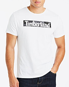 Timberland White Kennenec Camo Linear Logo T-Shirt Regular