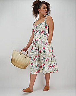 Joe Browns Floral Mixed Linen Dress