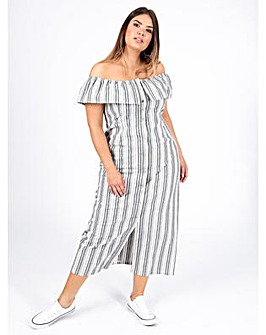 Koko Grey Stripe Bardot Dress
