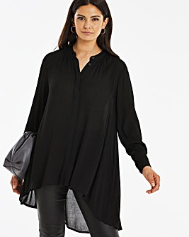 Black Dipped Back Crinkle Shirt