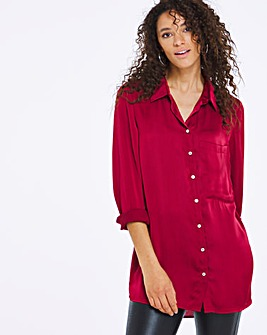 Red Satin Longline Shirt
