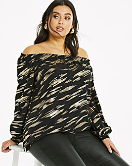 Foil Print Shirred Bardot Top