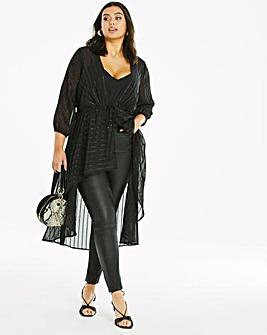 Black Sequin Woven Kimono