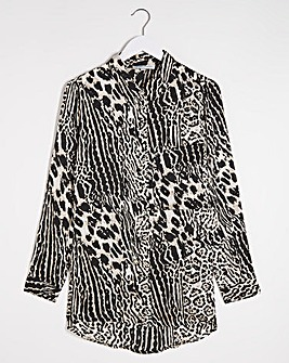 Tan Animal Print Satin Shirt