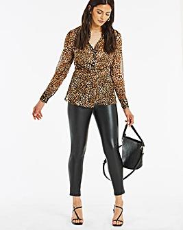 Leopard Print Tuck Front Blouse