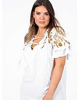 Koko White Lace Up Embroidered Top