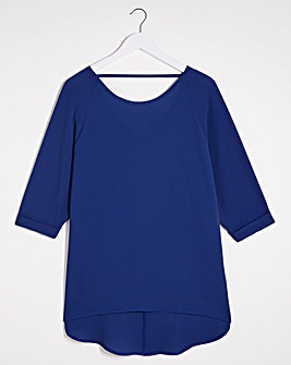Blue Dip Back Cocoon Tunic