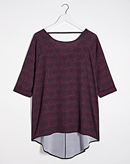 Burgundy Print Dipped Back Cocoon Tunic