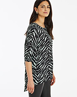 Sage Zebra Print Dipped Back Cocoon Tunic