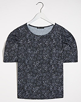 Spot Print Puff Sleeve Blouse