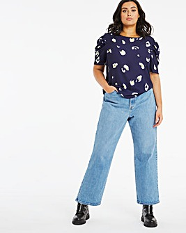 Navy Print Puff Sleeve Blouse