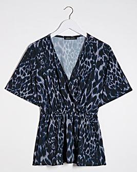 Blue Print Wrap Blouse