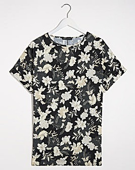 Black Floral Longline Boxy Top