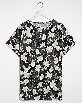 Black Floral Longline Boxy Top