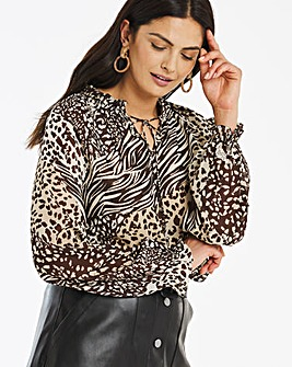 Animal Print Peasant Blouse