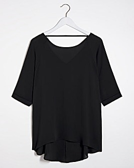 Black Dipped Back Cocoon Tunic