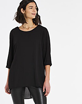 Black Dip Back Cocoon Tunic