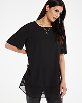 Black Sheer Hem Oversized Top