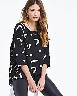 Mono Print Dip Back Cocoon Tunic