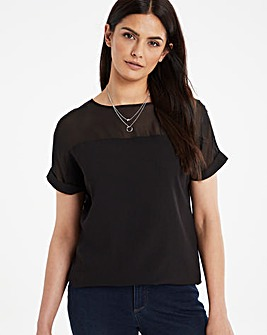 Black Sheer Yoke Top