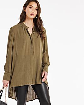 Khaki Dip Back Crinkle Shirt