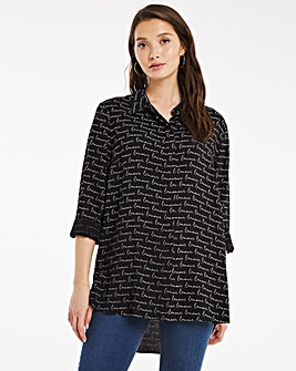 Black Print Dip Back Viscose Shirt