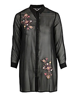 Koko Black Embroidered Longline Shirt