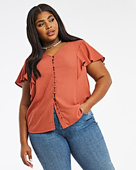 Peach Frill Sleeve Button Front Blouse