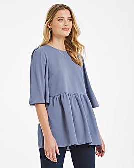 Smokey Blue Angel Sleeve Smock Top