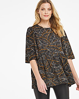 Black Print Angel Sleeve Smock Top