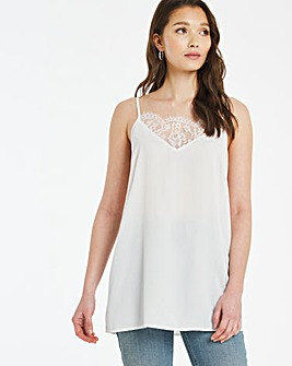 Ivory Lace Trim Strappy Cami