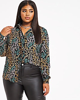 Butterfly Dipped Back Viscose Shirt