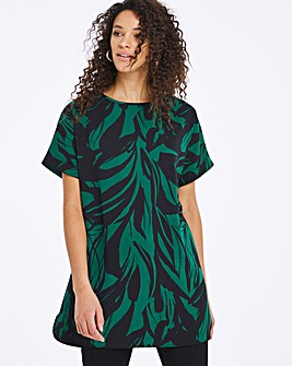 Green Print Longline Boxy Top