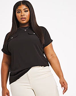 Black Utility Boxy Top