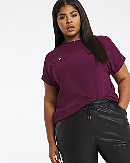 Aubergine Utility Pocket Boxy Top