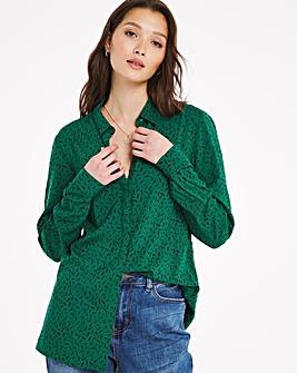 Green Print Dipped Back Viscose Shirt