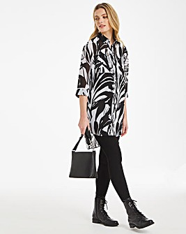 Mono Print Oversized Step Hem Shirt